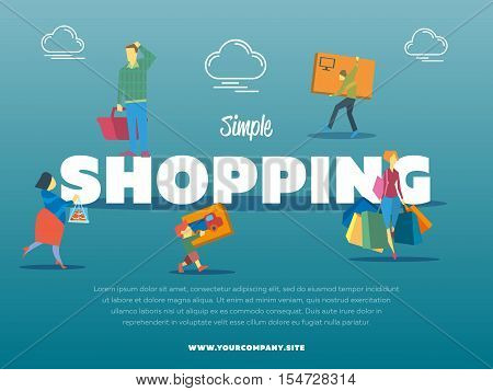 Simple shopping banner with people vector illustration. Let's go shopping concept. People characters carrying shopping bag, basket and packing box. Family shopping tour in mall or supermarket