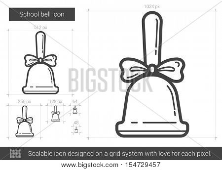 School bell vector line icon isolated on white background. School bell line icon for infographic, website or app. Scalable icon designed on a grid system.