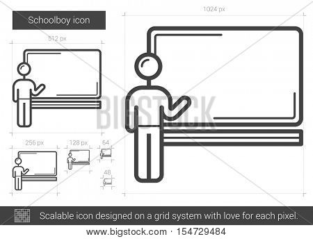 Schoolboy vector line icon isolated on white background. Schoolboy line icon for infographic, website or app. Scalable icon designed on a grid system.