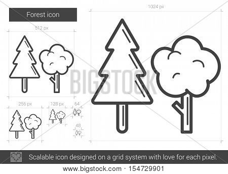 Forest vector line icon isolated on white background. Forest line icon for infographic, website or app. Scalable icon designed on a grid system.