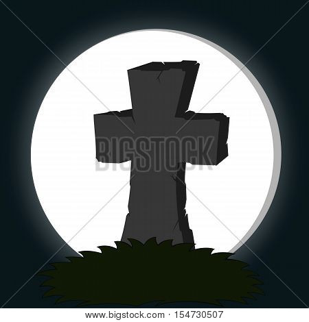 A gray cross-shaped gravestone with grass - midnight with moonlight