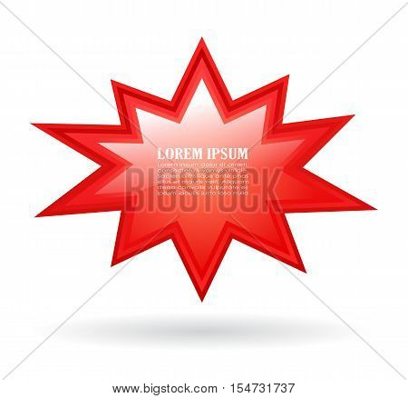 Red bursting text star vector illustration isolated on white background