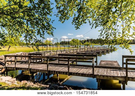 Mount Trashmore Park boat dock and lake in Virginia Beach, Virginia.