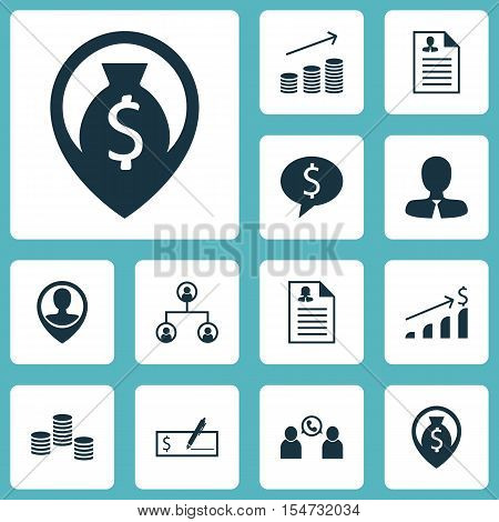 Set Of Human Resources Icons On Tree Structure, Money Navigation And Business Deal Topics. Editable