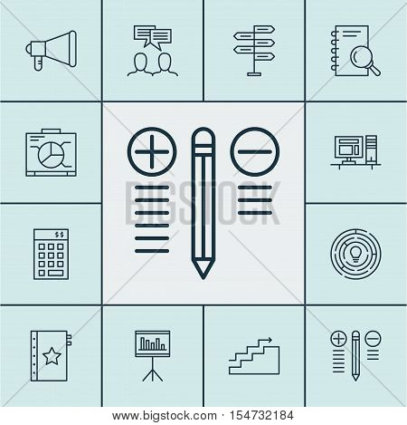 Set Of Project Management Icons On Board, Innovation And Warranty Topics. Editable Vector Illustrati