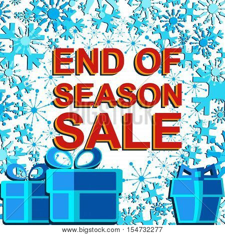 Big winter sale poster with END OF SEASON SALE text. Advertising blue and red banner template