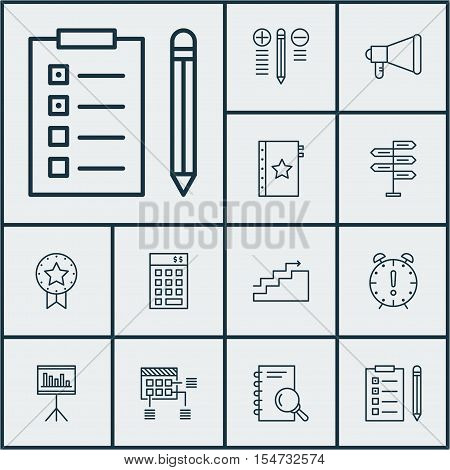 Set Of Project Management Icons On Announcement, Time Management And Schedule Topics. Editable Vecto