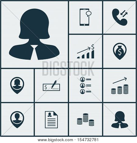 Set Of Management Icons On Money Navigation, Female Application And Pin Employee Topics. Editable Ve