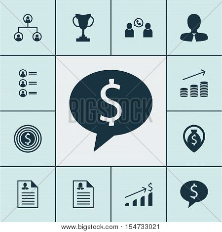 Set Of Management Icons On Tournament, Phone Conference And Coins Growth Topics. Editable Vector Ill