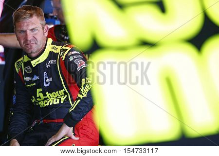 Martinsville, VA - Oct 28, 2016: Clint Bowyer (15) hangs out in the garage during practice for the Goody's Fast Relief 500 at the Martinsville Speedway in Martinsville, VA.