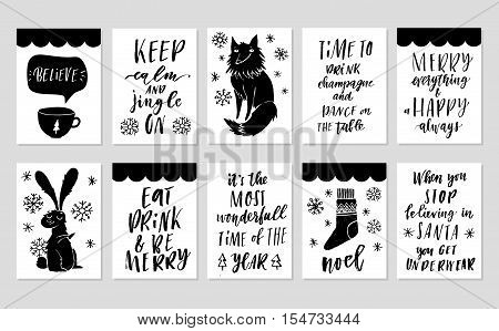 Collection of 10 stylish black and white New year and christmas gift cards. Set of cute printable hand drawn holiday tags posters flyers greeting cards templates. Vector seasonal design