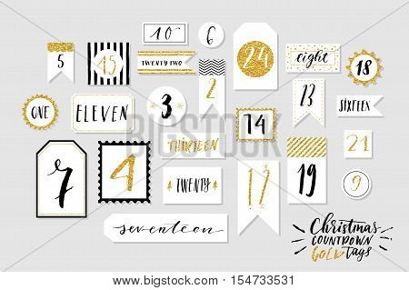Abstract black, white and golg colored twenty four christmas countdown printable tags collection. Advent calendar. Vector illustration