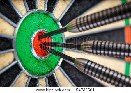 Three Darts In Bull's Eye, Close Up