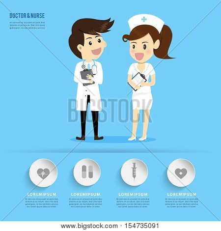 Doctor and Nurse cartoons occupation.healthcare concept.can used for banner,infographic,data,presentation business,chart,brochure,leaflet, sign and symbol.