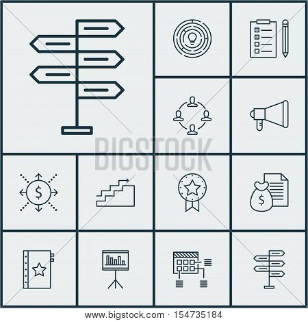 Set Of Project Management Icons On Innovation, Money And Warranty Topics. Editable Vector Illustrati