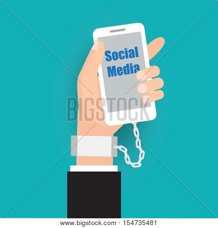 Social addict lock lifestyle.Vector illustration business social cartoon concept.