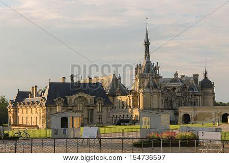 Chantilly France - July 09 2012: Famous Chateau de Chantilly (Chantilly Castle 1560)