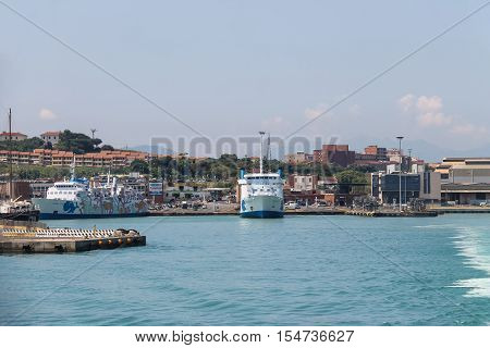 Piombino Italy - June 30 2015: Ferry boat Moby Baby at berth in the seaport