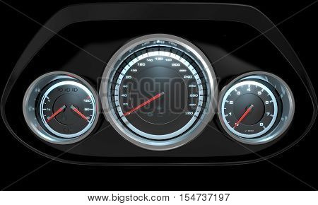 A 3D render of a sporty car dashboard with a speedometer petrol and temperature gauge with a rev counter on an isolated black background