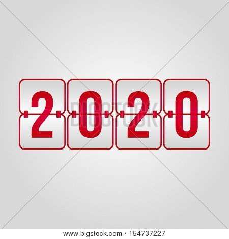 Happy New Year 2020 and Merry Christmas Scoreboard red and grey symbol