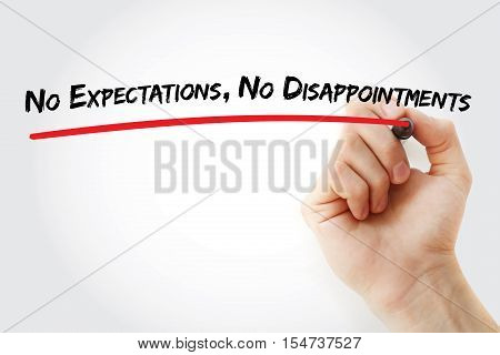 Hand writing No Expectations No Disappointments with marker concept background poster