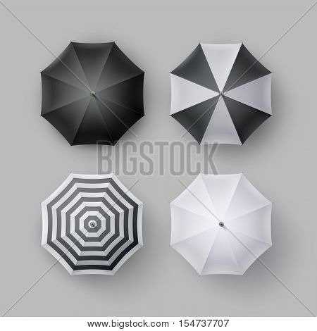 Vector Set of White Black Striped Blank Classic Opened Round Rain Umbrella Parasol Sunshade Top View Mock up Close up Isolated on Background