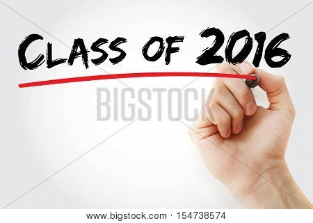 Hand Writing Class Of 2016 With Marker