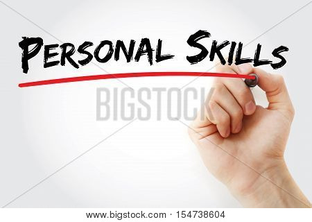 Hand Writing Personal Skills With Marker