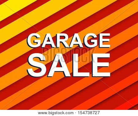 Red striped sale poster with GARAGE SALE text. Bright advertising banner template