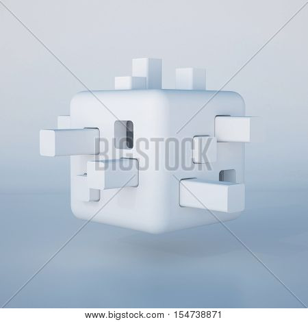 3d illustration. Abstract white non-existent form futuristic background. Images associations: cube constructor developing toy robot head modular flying autonomous house cell. Render.