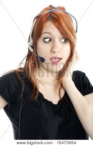 Cute, Gossiping Receptionist Close-up
