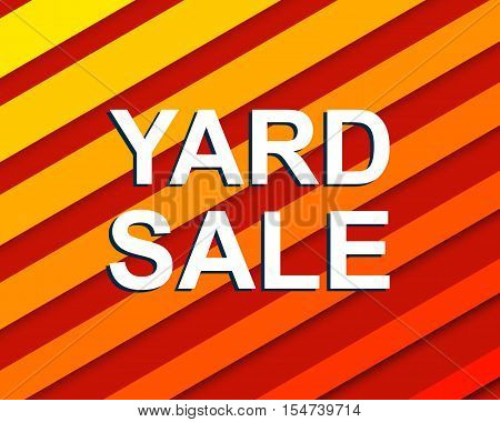 Red striped sale poster with YARD SALE text. Bright advertising banner template