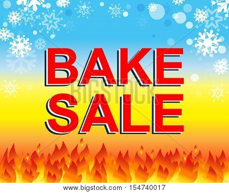 Big winter sale poster with BAKE SALE text. Advertising blue and red banner template