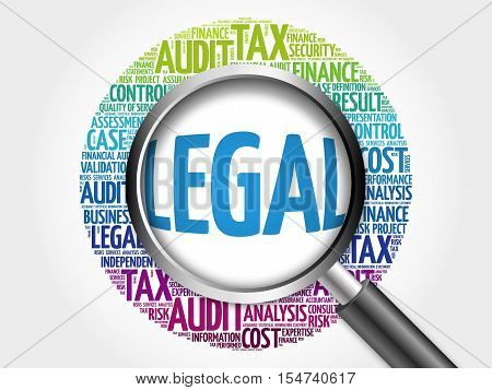 Legal Word Cloud With Magnifying Glass