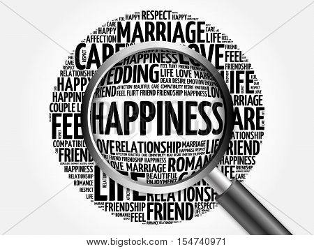Happiness Word Cloud With Magnifying Glass