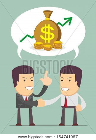 Businessmen Discussion - a Men talk about business prospects. Stock Vector illustration.