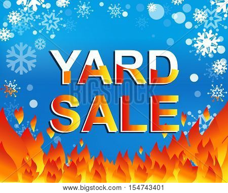Big winter sale poster with YARD SALE text. Advertising blue and red banner template