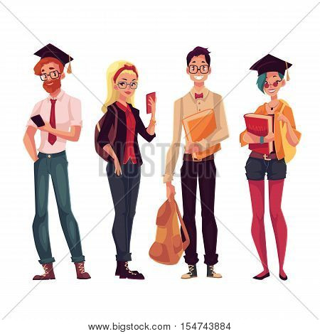 Group of full height college, university students with books and phones, cartoon style illustration isolated on white background. Male and female students in casual clothes