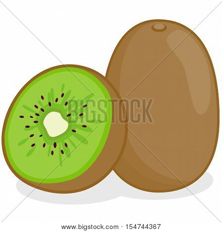 Vector Illustration of whole and a sliced kiwifruit.