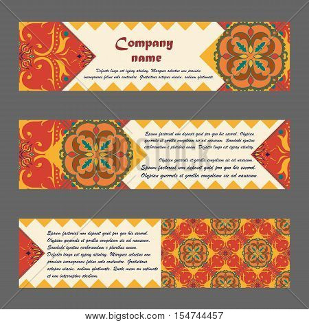 Vector set of colorful horisontal banners for business and invitation. Portuguese Moroccan; Arabic; asian ornaments. Geometric and floral motifs