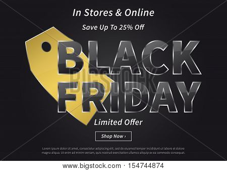 Black Friday with gold price tag vector illustration on black background. Creative banner Black Friday Limited Offer layout with sample text for m-commerce mobile promotions