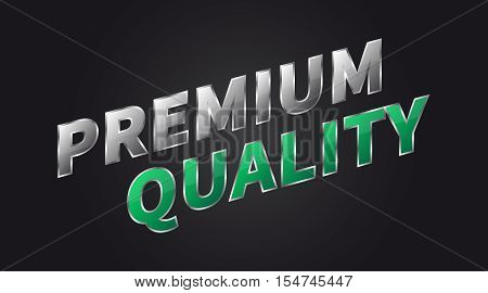 Banner Premium Quality horizontal vector illustration on black background. Banner Premium Quality creative concept for websites retail stores advertising.
