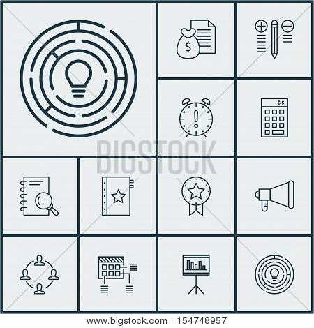Set Of Project Management Icons On Report, Announcement And Schedule Topics. Editable Vector Illustr