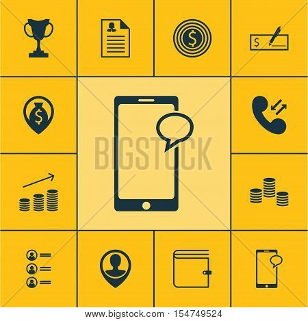 Set Of Human Resources Icons On Messaging, Cellular Data And Business Goal Topics. Editable Vector I