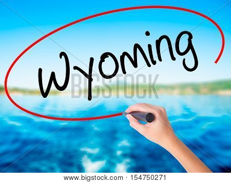 Woman Hand Writing Wyoming  With A Marker Over Transparent Board