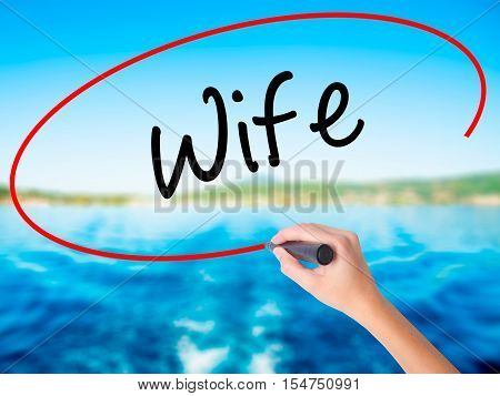 Woman Hand Writing Wife With A Marker Over Transparent Board