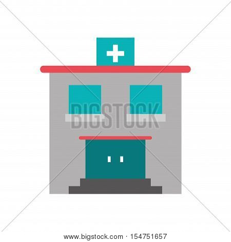 Hospital building icon. Medical and health care theme. Isolated design. Vector illustration