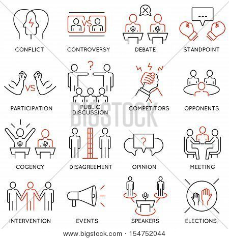 Vector set of 16 thin icons related to controversy discussion and competition. Mono line pictograms and infographics design elements