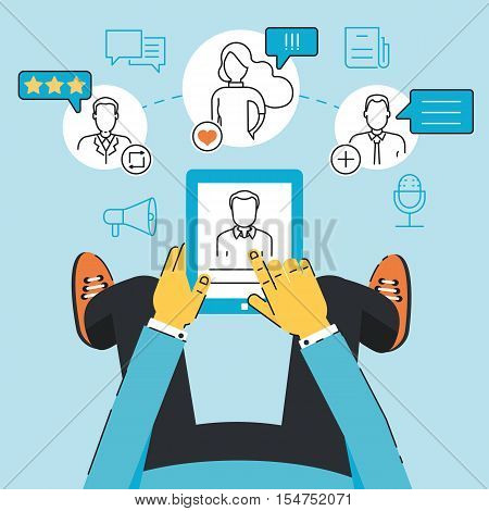 Vector linear flat concept of communication negotiation interaction with customers and users through a mobile applications or web technology