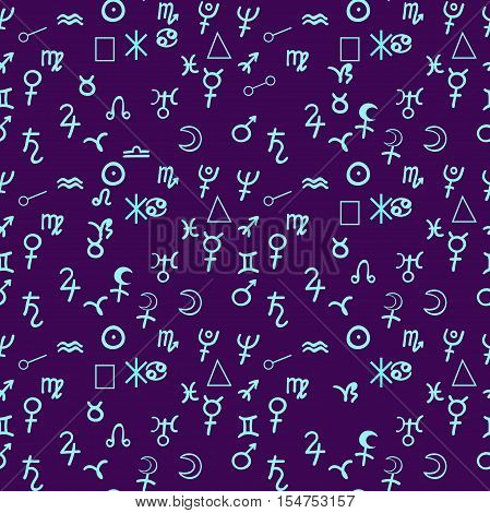 Seamless Pattern The Natal Astrological Chart, Zodiac Signs. Vector Illustration